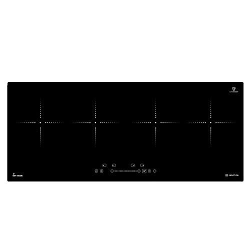 KKT KOLBE Placa de cocina por inducción 90cm / Autárquica / 7,4kW / 9 pasos / 4 zonas/sin marco/teclas sensoriales TouchSelect/amplificador/pantalla LED / IND9020RL