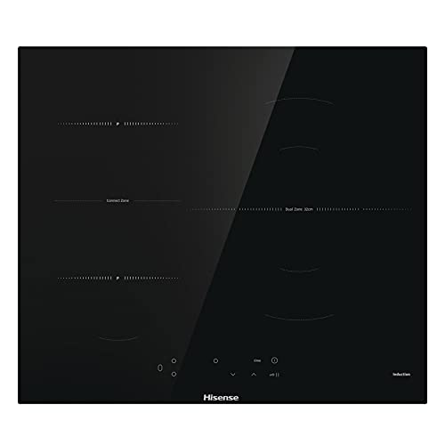 Hisense I6337C - Placa Inducción 3 zonas, 1 con foco gigante 32 cm, 2 conectadas entre si área Bridge, encimera de 60 cm, bloqueo infantil y terminación biselada