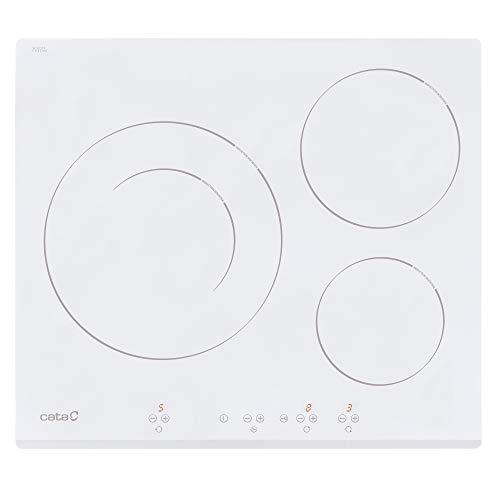 Cata Placa de Inducción, Modelo IB 6030 WH, 3 Zonas de Cocción, 9 Niveles de Potencia, Ancho de 59 cm, Color Blanco