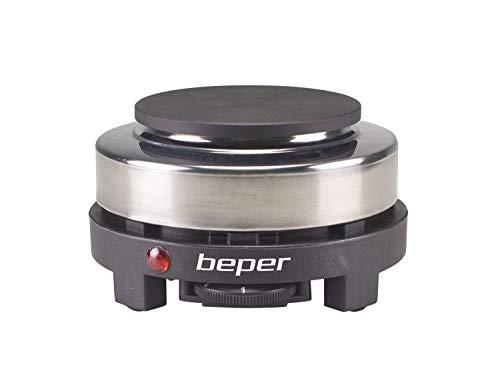 BEPER Placa Caliente eléctrica, Acciaio inossidabile, Negro/Gris, Sencillo 10 cm
