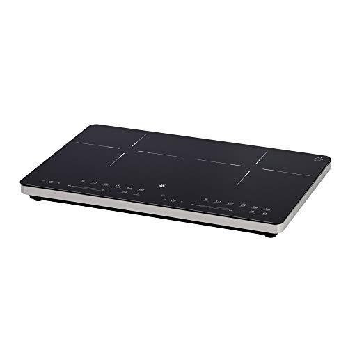 WMF Kult X - Placa de inducción doble, hasta 28 cm, 2 zonas de cocción, 8 niveles de potencia, detección de ollas, pantalla táctil, vitrocerámica, función de temporizador, 3500 W