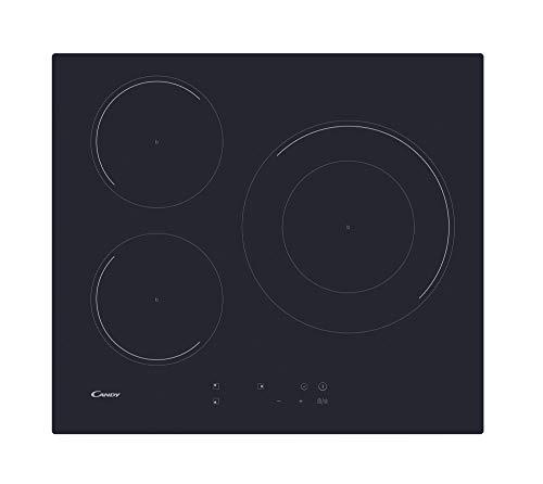 Candy CID633C, Placa inducción, 60cm ancho, 3 zonas de cocción, Temporizador, 9 niveles de potencia, Booster, Negro