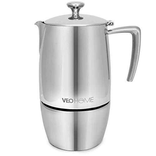 VeoHome - Cafetera Italiana de Acero Inoxidable 10 tazas 500 ml – Cafetera Moka Italiana para cocinas Inducción, Vitrocerámica y de Gas - Estilo Espresso – Irrompible, Segura y apta para Lavavajillas