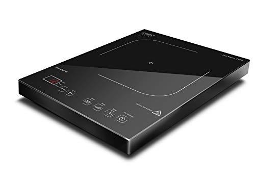 CASO PRO Menu 2100 - Placa de inducción portátil (control inteligente, 12 niveles, 60-240 °C, temporizador hasta 180 min, ollas hasta 24 cm, 2100 W, vitrocerámica)