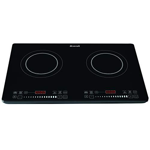 Brandt – Placa de cocina eléctrica – Placa de inducción posable 2 fuegos – 1 fogón 1400 W – 1 fogón 2000 W – 10 niveles de potencia – Teclas de cocción preprogramadas