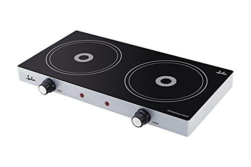 Jata V141 - Cocina eléctrica vitrocerámica de 2 placas de 16,5 cm de 1200 W cada una. 2 termostatos regulables de temperatura. Cuerpo metálico