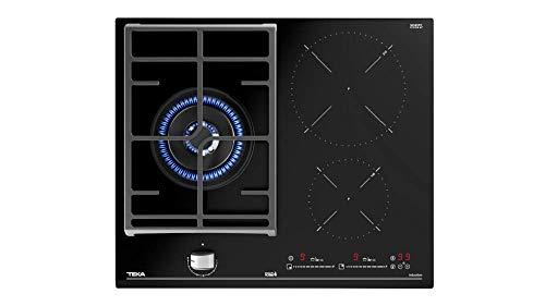 Teka JZC 63312 ABN Placa Hybrid de 60cm con Funciones directas Cristal Negro | 5.5 x 60 x 51 | 3 Zonas de cocción (2 inducción + 1 Gas), Normal