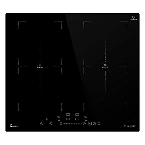 KKT KOLBE Encimera de inducción 59cm / Autárquica / 7kW / 9 pasos / 4 zonas / 2 zonas flexibles/sin marco/teclas de sensor TouchSelect/amplificador/pantalla LED/función de barbacoa / IND5904FZ