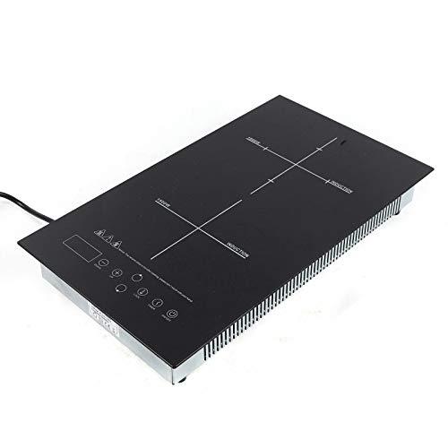 Placa de inducción, 2000 W, placa de inducción individual con diseño delgado, 8 funciones de cocción, control táctil con sensor, placa de inducción con pantalla LED