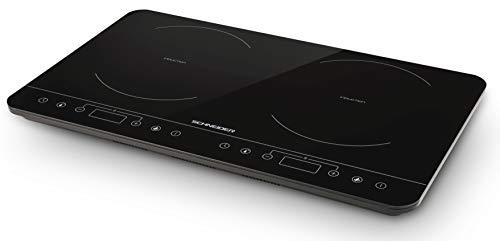 Schneider SCIH82B - Placa de inducción doble (10 niveles, pantalla digital, temporizador hasta 3 horas, 3500 W)