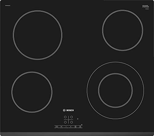 Bosch Serie 4 PKF631B17E - Placa vitrocerámica, 60 cm, 17 niveles de potencia, 4 zonas de cocción, Control táctil, Color negro