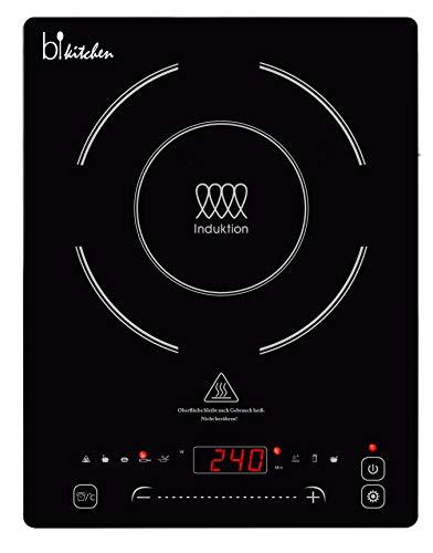 BKITCHEN Cook 400 - Placa de inducción extraplana con placa de vitrocerámica, 7 programas de cocción, detección automática de ollas, función deslizante.