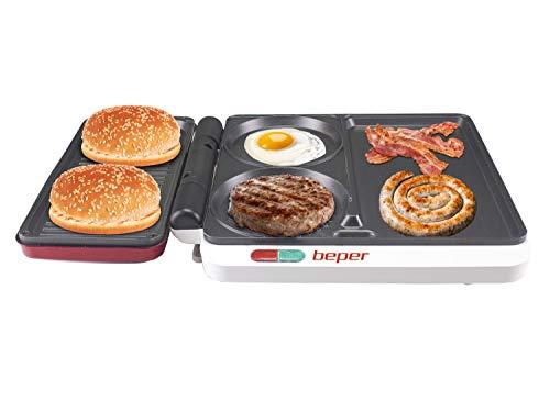 Beper P101CUD500 Placa multifunción 4 en 1,1000W,Roja,4 superficies de cocción para hamburguesas, pescado, carne y verduras