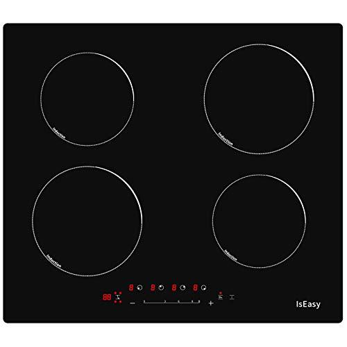 Placa de inducción, placa de cocción de inducción eléctrica – (6800 W, Autarkic, 4 fuegos, 60 cm, empotrada, táctil, temporizador, cristal cerámica) – 4 zonas