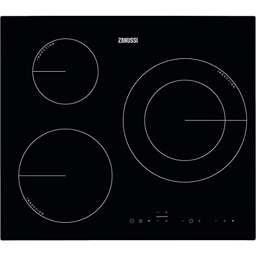Zanussi ZIT6360CB Placa inducción, Biselada, Extraplana 3 zonas, Zona Triple de 32 cm, Calentamiento rápido, Control táctil, Sin Marco, Negro, 60 cm