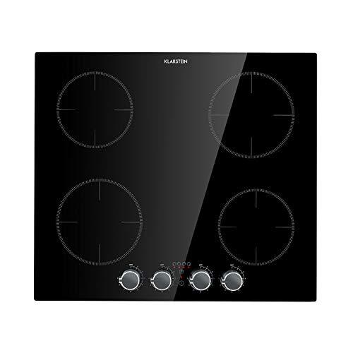 Klarstein Kochheld- Placa de inducción encastrable, Vitrocerámica, 9 niveles, Apagado automático después de 120 min, Vidrio negro, Sin bordes, Control mediante perillas, 6.000 W, Negro, 4 zonas