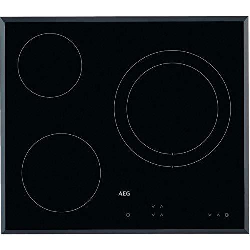 AEG HK623021FB Placa vitrocerámica, Biselada, 3 zonas de cocción, Panel de control táctil independiente, Negro, 60 cm