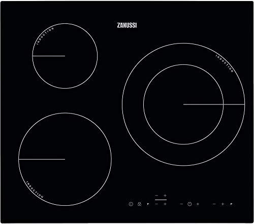 Zanussi ZIT6360CB Placa inducción, Biselada, Extraplana 3 zonas, Zona Doble de 28 cm, Calentamiento rápido, Control táctil, Sin Marco, Negro, 60 cm