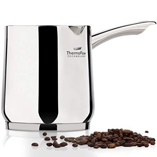 ROSMARINO Olla de Inducción de 1200 ml - Moderna cafetera turca con base de acero de 3 capas - Apta para placas de inducción, eléctricas, vitrocerámicas, de gas y lavavajillas