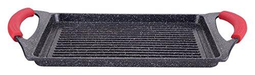 Parrilla para Hacer a la Plancha, con Revestimiento de Piedra, Negro, 45.5 x 27.2 x2.4 cm, de Euronovità, EN-22141