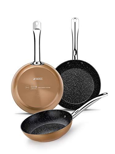 Monix M740040 Copper - Set de 3 Sartenes Efecto Cobre, Aluminio Forjado Antiadherente con Partículas de Titanio, Aptas para Todo Tipo de Cocinas incluso Inducción, 20-24-28 cm