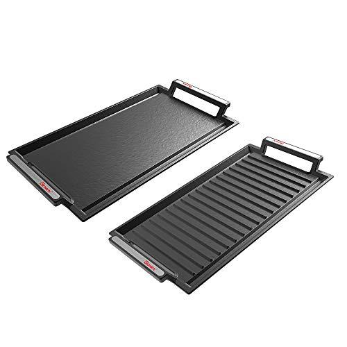 GIONIEN 2 piezas Placa de parrilla, bandeja para barbacoas, de hierro fundido, con superficies planas y estriadas, perfecto para placas de inducción