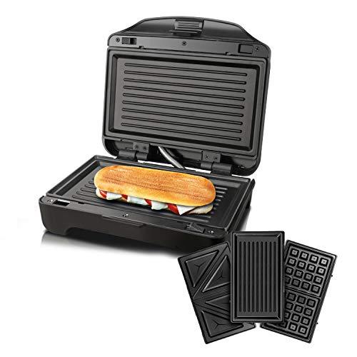 Taurus Miami Premium Sandwichera Intercambiable, 900 W, 0 Decibeles, Plastique, Negro