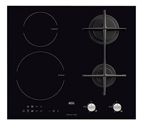 AEG–HD 634170NB - Encimera de cocina mixta a inducción y gas, acabado en color negro, 60cm