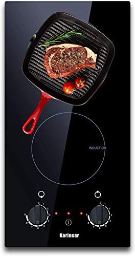 Karinear Placa Inducción, Placa de Cocción Eléctrica Incorporada, 3200W, 2 Zonas Cocina Encimera 30CM, Seguridad de Apagado Automático