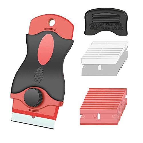Gebildet Rascador de Vidrio y vitrocerámica - Especial para Vitro-Cerámicas y Placas de Inducción-10 Piezas Acero Inoxidable Cuchillas + 10 Piezas Plástico Cuchillas