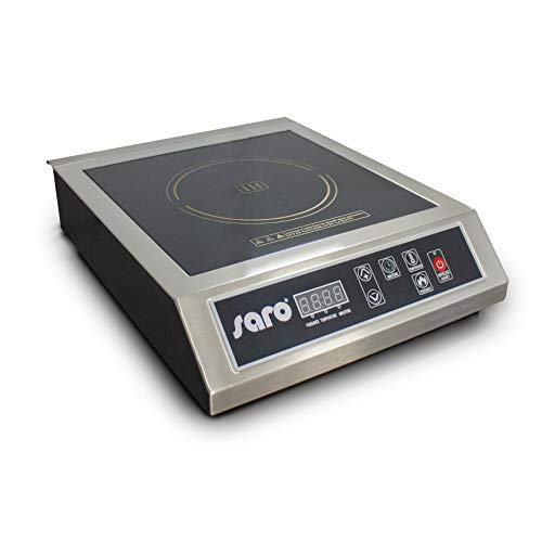 SARO - Placa de inducción profesional, bati totalmente de acero inoxidable, 60 °C a 270 °C, digital, temporizador, 13 niveles de potencia de 400 W a 3500 W
