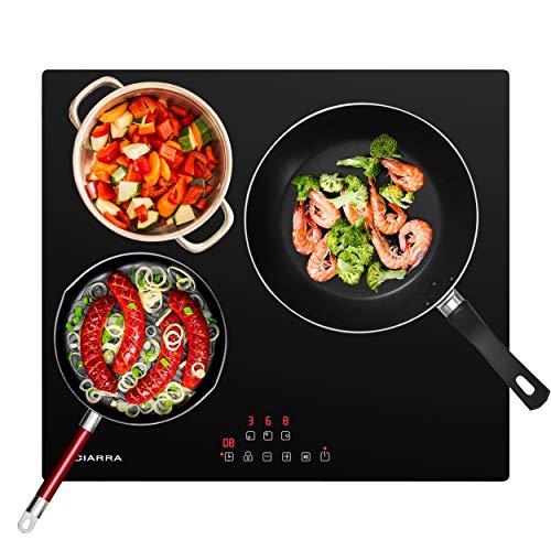 CIARRA CBBIH3 Placa Inducción 3 Zonas Cocina Integrada, Extraplana 3 Zonas, Control Táctil, Calentamiento Rápido, Sistema de Conexión Automática, Función Pausa, Negro (6100W)