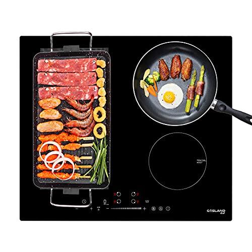 Gasland Chef IH604BF Placa de Inducción Integrada de 60 cm, 7000 W con 4 Zonas de Aumento, Placa de Inducción Flexible para Barbacoa, Calentamiento/Parada + Función GO