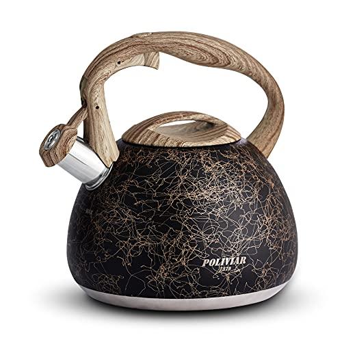 Poliviar JX2020-RB30-DE - Hervidor de agua de inducción con silbato de acero inoxidable, para todas las placas de cocina, con mango de madera, hervidor de agua para té, café, aprox. 3 l, color dorado