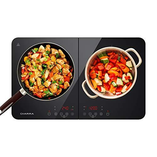 CIARRA CBTIH2 Placa Inducción 3500W, Cocina de Inducción de Doble Placas Ultrafino, Control Independiente, 10 Niveles de Temperatura, Múltiples Niveles de Potencia, Control Táctil, Apagar Automático